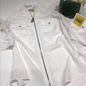 Michael Kors white zip front utility blouse Size M